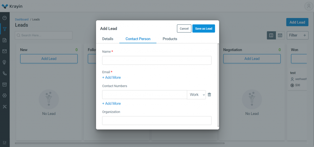 By this , you can add contact person's details.