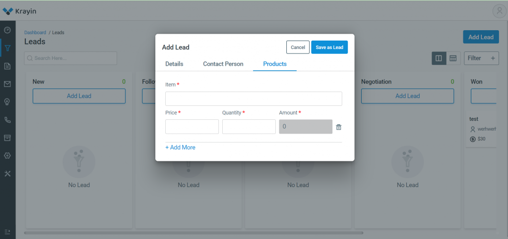 In this section you need to add Poducts details for lead generation.