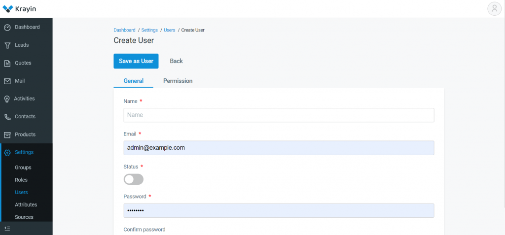 Go to Dashboard -> Setting -> Users -> Create User, next page will appear like below.