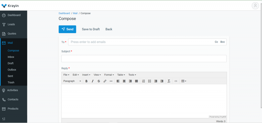 Manage Emails in Krayin?  Composing Mail