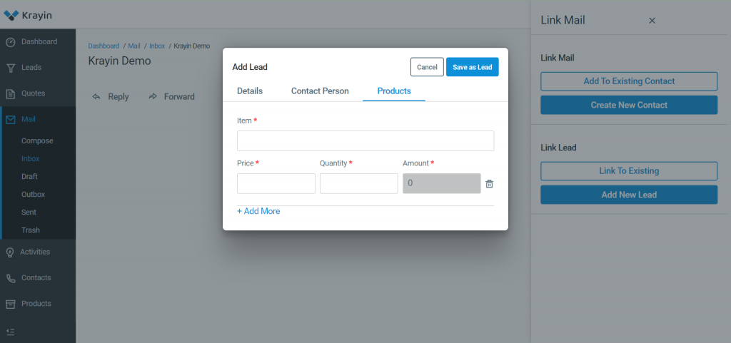 In this section, you need to add Items, Price, Quantity, and Save as Lead.